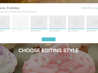 In the first step, users upload photos and videos; files can be uploaded simultaneously.