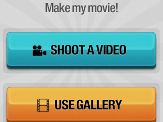 Main page has easy instructions and examples of Magisto-created videos. Competitions are found under the ribbon, notifications under the number one, and settings under the three squares.