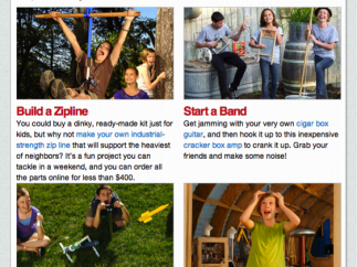 The Cool Projects section gives age-appropriate make ideas for kids.