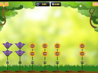 The game grows more challenging with flower stem number lines that include fractions and decimals.