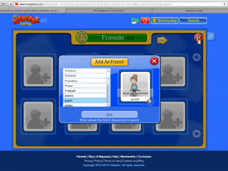 Kids can search and friend Mapoosa users, as well as chat and send messages.