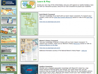 The site also offers several geography-themed games.