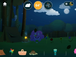 Kids can use the day/night setting to explore and interact with objects that light up at night.