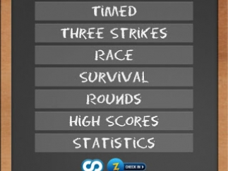 Main menu showing buttons for practice, games, high scores, and statistics, plus links for scoring networks.