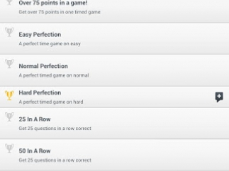 Scoreloop achievements page with share icons for Facebook and other social media including optional personalized message.