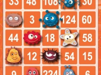 Bingo board with triple-digit products, incorrect answer response.