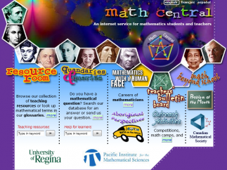 Fun colors and lots of faces add warmth to this Canadian math resource's home page.