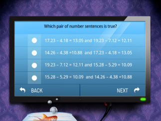 Pre-test multiple choice question presents four pairs of expressions laid out horizontally.