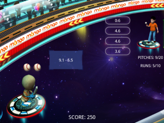 Intergallatic Baseball Championship game shows expression next to alien and multiple choices (and time bar) next to character. Players score 50 points for every correct answer but alien scores a run for every incorrect answer.