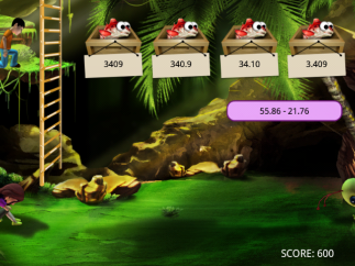Hungry Monster game displays expression and timer bar near alien and multiple choices hanging from boxes of fish. Once answer is chosen, players must tap on alien to distract it with the fish.