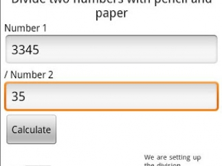 Calculator page for Divide on Paper shows input 3345 and 35, Calculate button, layout, and explanation.