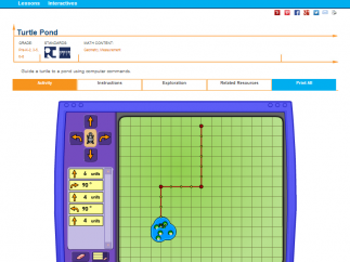 Turtle Pond Java applet for grades 2 through 5 served on NCTM Illuminations site asks kids to direct the turtle to the pond by counting grid units and making angle identified turns.