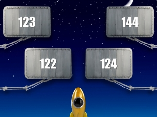 Answer math problems to earn money for rocket building.