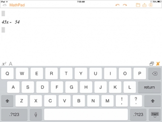 Kids can use a traditional keyboard and a math keyboard to enter expressions.