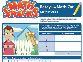 """Learner's Guide for """"Ratey the Math Cat"""" asks kids to interact with and extend concepts."""