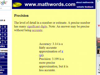 Definition for precision begins with an informal yet vague definition, follows with two references, a note, and a textual example.