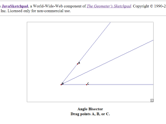 JavaSketchPad dynamic diagram for angle bisector allows you to manipulate but does not define or explain.