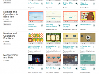 Games and online worksheets are organized by topic.