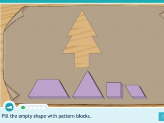 Kids arrange shapes to form a larger picture.