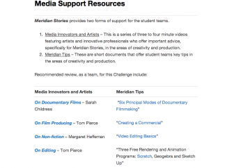 Students are provided with media resources to help them create their projects.