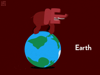 Play with the animations: Bounce the earth ball and make the elephant walk back and forth.