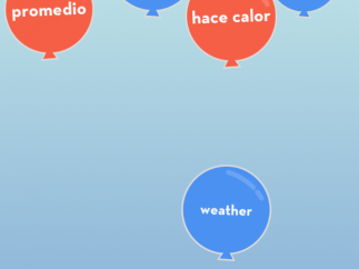 Bloon matching game releases English words in blue balloons and Spanish in red. Kids must select matches before they fill up the space ending the game.