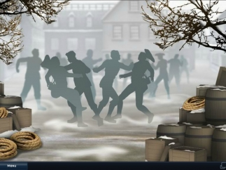 Historical events, such as the Boston Massacre, are depicted in the game.