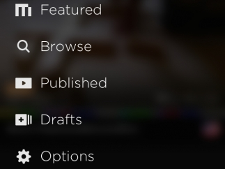 View featured, draft, and published clips, and browse other people's MixBit creations. Options include account settings, in-app tour, terms of service, and MixBit contact.