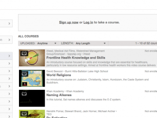 Students can choose to browse through videos or take a course of a group of pre-selected videos.