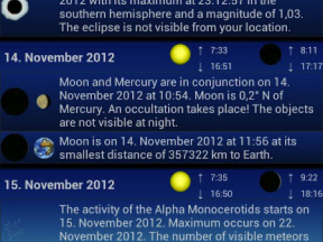 Kids can plan their sky watching in the Events section, which lists noteworthy occurrences in the next days, weeks, or months.