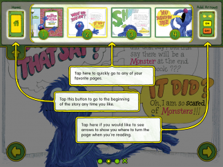Written instructions clearly outline how to use each feature on this simple interactive storybook.