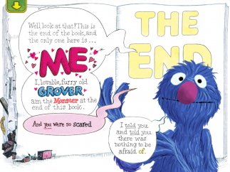 """Kids laugh and Grover is so relieved when he finds the """"monster"""" is really himself!"""