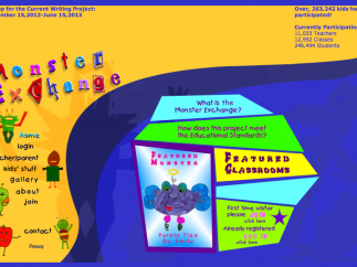 Homepage with links to monster galleries, information on educational standards, teacher resources, and the sign up page