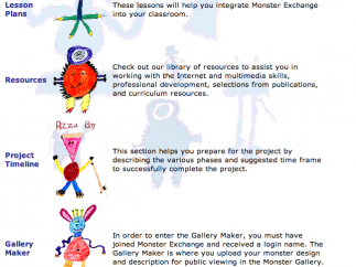 Teacher resource page features limited lesson plans, links to outside resources, a timeline guideline for planning, and the gallery to upload drawings and participate in the exchange