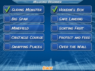 Missions range from beginner to advanced.
