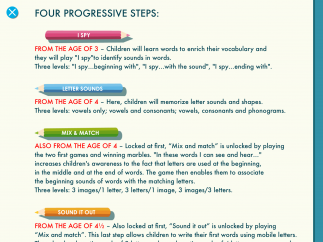 The Note to Parents section features background info about the Montessori method and how it's used in the app.