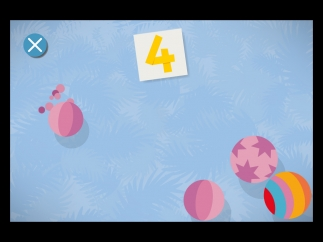 Kids can tap on the same number of balls as the corresponding numeral.