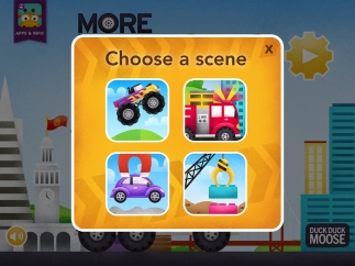 Kids choose from four scenes for gameplay.