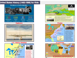 Some of the U.S. history topics available; each unit includes information sheets and comprehension checks, and activities.