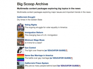 Teachers can find multimedia resources on a wide-range of current issues.