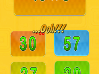"""""""…Ooh!"""" feedback when answer is incorrect (the player also lost 30 points, equaling the missed answer)."""