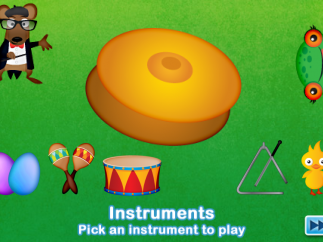 Kids can choose from the instruments and play them by tapping the screen.