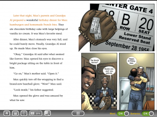 The reader shows kids their progress in a book, and offers audio and highlighting controls.