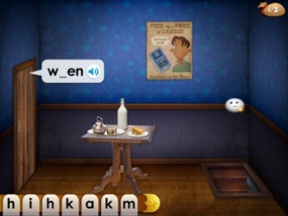 Choose letters from the bank to complete spelling words.