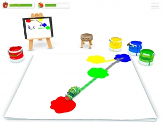Drag the caterpillar across the screen to make tracks and mix colors.