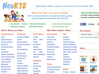 The main page lists videos by topic.