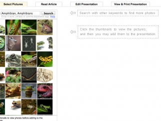 With a paid subscription, users can create presentations using a template and provided graphics.