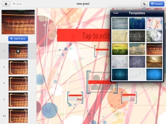 Teens can choose from 15 different templates when creating a new prezi on the iPad.