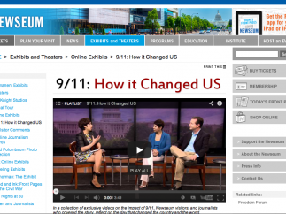 There are interviews and videos on the media's coverage of major events like 9/11, the Vietnam War, and the Civil Rights Movement.