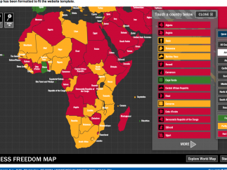 Interactive tools include a clickable map that shows press freedom ratings by country.